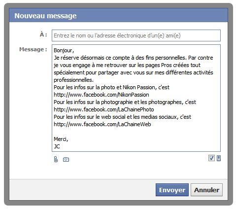 Exemple de message d'accueil sur Facebook pour protéger votre vie privée