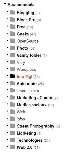 exemple de plan de classement des abonnements dans Google Reader