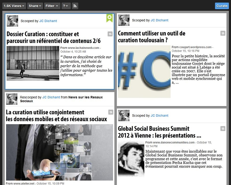 exemple de page Scoop.It - curation de contenus