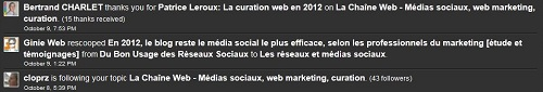 Notifications et partage sur Scoop.It
