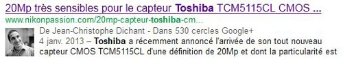 Dossier Google Plus affichage du profil dans les résultats de recherche