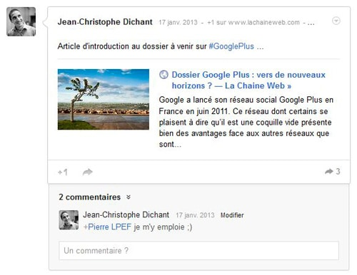 Dossier Google Plus comment poster message sur Google Plus
