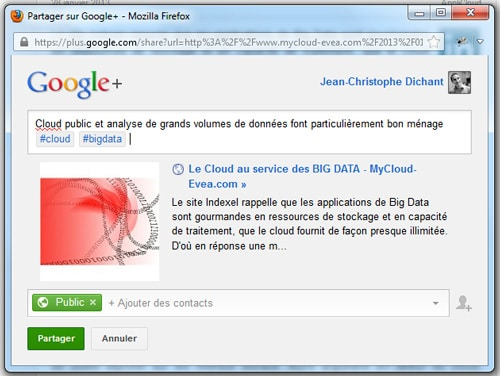 Poster un message public sur Google Plus