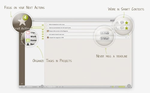 Nozbe - outil de gestion GTD Getting Things Done