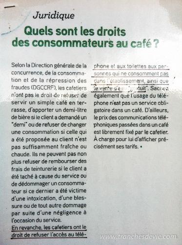 Liste des droits des consommateurs dans un café