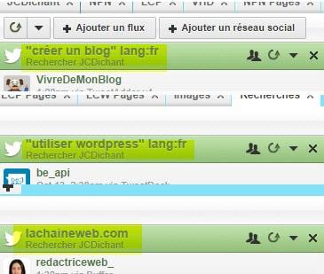 Exemples de recehrches Twitter enregistrées dans Hootsuite